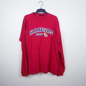 Oversized Kansas Jayhawks long sleeve red shirt